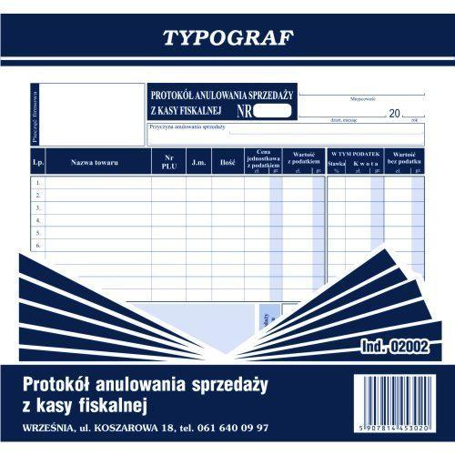 Protokół anulowania sprzedaży z kasy fiskalnej 2/3 A4, produkt marki Typograf