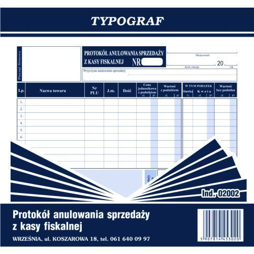 Protokół anulowania sprzedaży z kasy fiskalnej 2/3 A4 - produkt z kategorii- druki akcydensowe