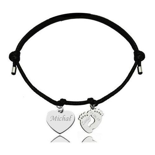 Br997 bransoletka personalizowana serce stópki na sznurku marki Mak-biżuteria