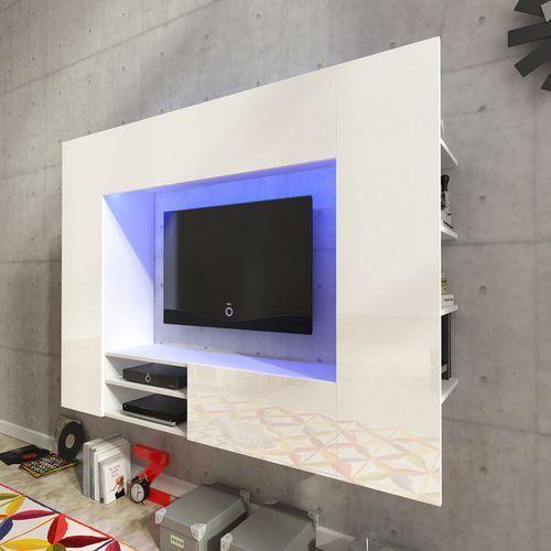 vidaXL Szafka ścienna na domowe centrum rozrywki, biała, wysoki połysk - produkt z kategorii- Szafki