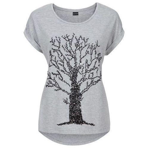 7d13c7298b Shirt z aplikacją z cekinów szary melanż marki Bonprix 74