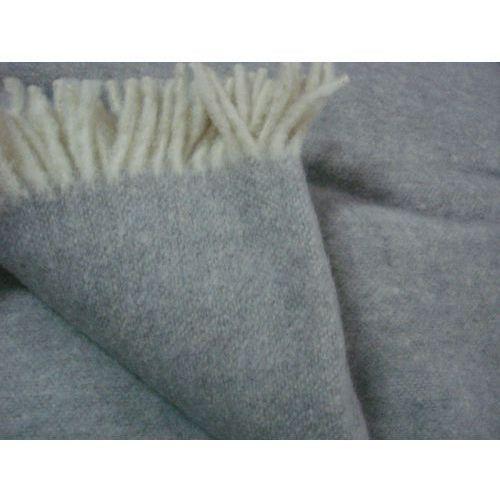 Degatex Koc wełniany 100% wełna jednobarwny z frędzlami szary