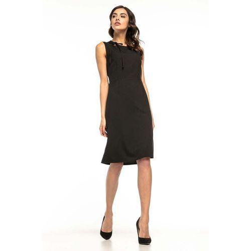 118c890d00 Tessita Czarna koktajlowa sukienka z trapezowym dołem bez rękawów 138