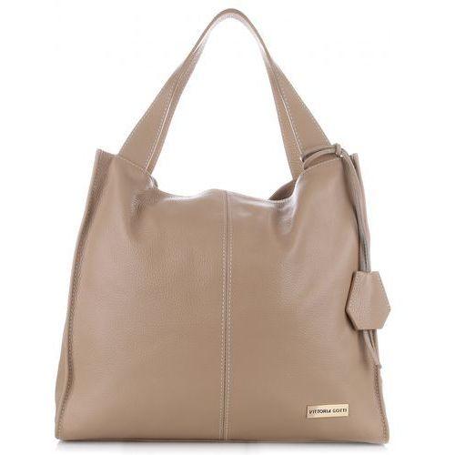 97b62674e75f0 VITTORIA GOTTI Made in Italy Duża Torba Skórzana Shopperbag Beżowa  (kolory)