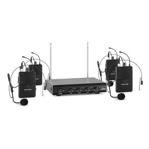 Auna pro vhf-4-hs 4-kanałowy radiowy zestaw mikrofonowy vhf 4x mikrofon nagłowny zas (4260486152938)