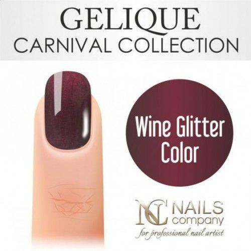 Nails Company GELIQUE WINE GLITTER COLOR 6ML - Żel hybrydowy