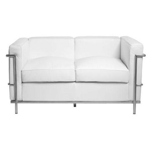 Sofa 2-osobowa Kubik biała skóra TP, T_b87877fd-d486-48f6-a1ef-cc5b50e7a74a