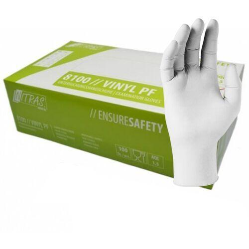 Winylowe rękawiczki ochronne Nitras Medical Vinyl PF, przezroczyste, bezpudrowe, 100 szt - roz. XS
