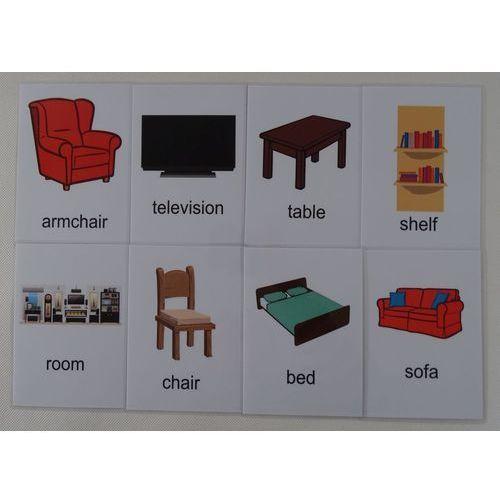 Pokój dzienny / akcesoria karty edukacyjne wersja w j. angielskim