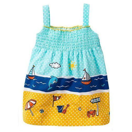 Sukienka niemowlęca, bawełna organiczna bonprix morsko-turkusowo-lazurowy-złocisty (sukienka dziecięca)