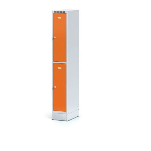 Szafka ubraniowa 2-drzwiowa na cokole, drzwi pomarańczowe, zamek obrotowy marki Alfa 3
