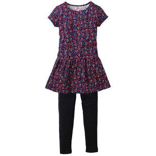 Sukienka + legginsy (2 części) bonprix czarny w kwiaty (sukienka dziecięca)