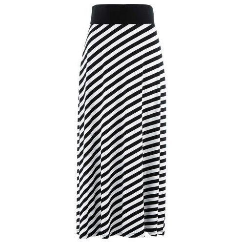 Spódnica shirtowa czarno-biały w paski, Bonprix, 48-58