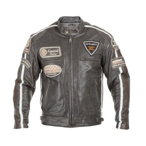 Męska skórzana kurtka motocyklowa W-TEC Buffalo Cracker, Brązowo-szary, 6XL, skóra