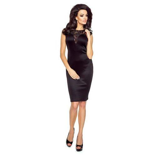 85c092e1d5 Czarna sukienka wieczorowa z wstawką z koronki marki Sale 151