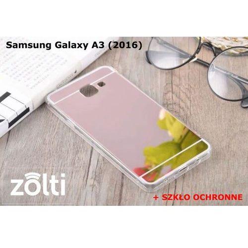 Zestaw | Slim Mirror Case Różowy + Szkło ochronne Perfect Glass | Etui dla Samsung Galaxy A3 (2016), kolor różowy