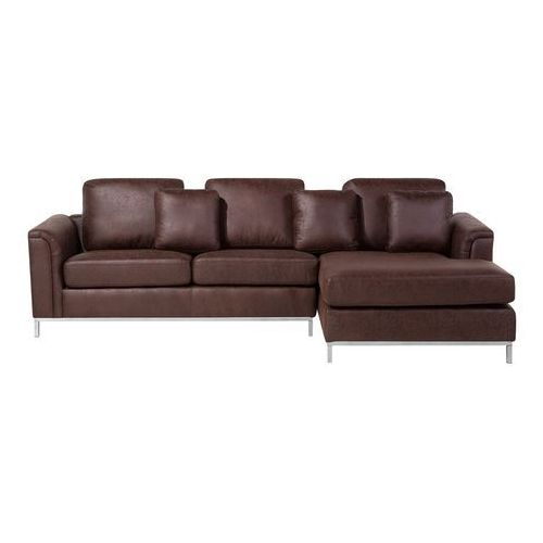 Sofa narożna tapicerowana brązowa lewa srebrne nóżki OSLO