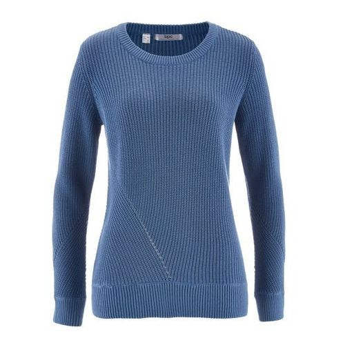Sweter z długim rękawem bonprix niebieski dżins, jeans