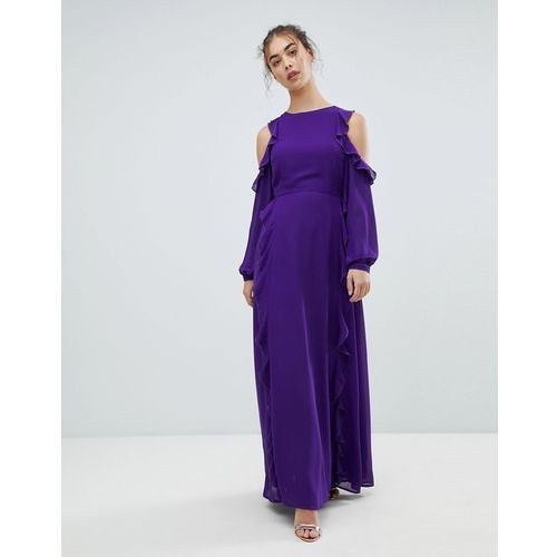 cold shoulder frill dress - purple, Glamorous, 34-36
