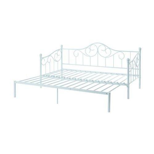 Wysuwane łóżko sebille – metal – 90 × 200 cm – kolor biały marki Vente-unique.pl