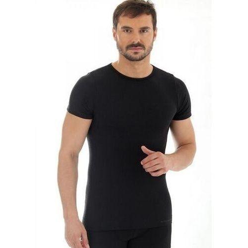 Brubeck ss11030 koszulka męska z krótkim rękawem comfort wool czarny