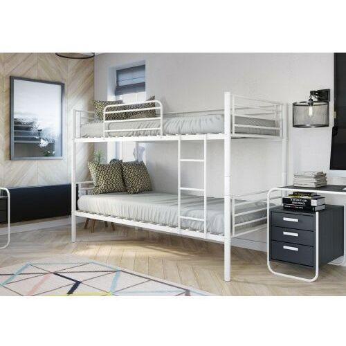 Łóżko metalowe piętrowe 90x200 - hadson - białe marki Emwomeble