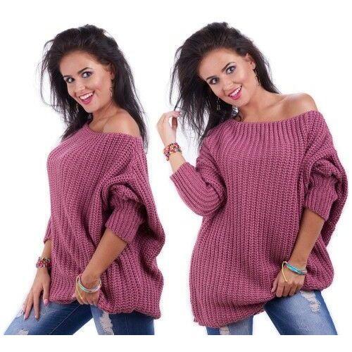 Luźny mięciutki sweter odkryte ramię oversize /009 marki Amstyl