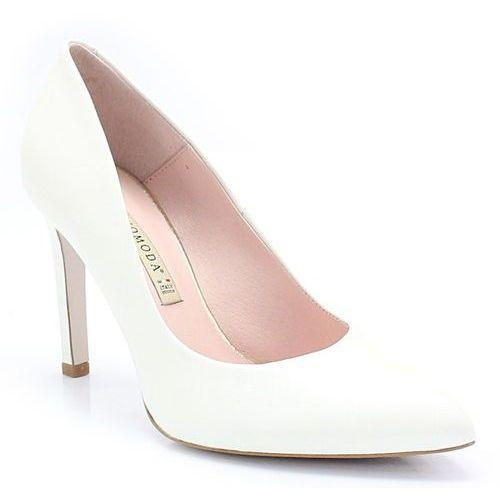 1373 biała perła - eleganckie ślubne szpilki - biały marki Bravo moda