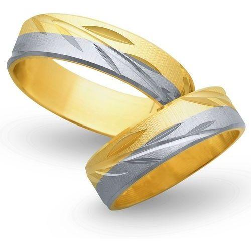 Obrączki z żółtego i białego złota 6mm - O2K/033 - produkt dostępny w Świat Złota