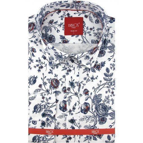 Koszula męska biała w kwiatki slim fit na długi rękaw a078, Biblos