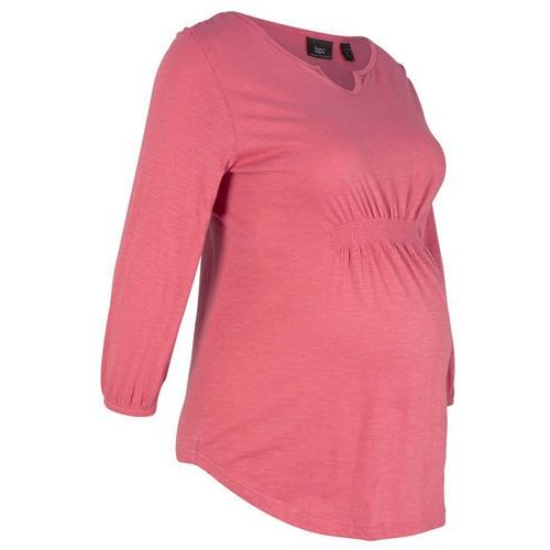 Dłuższy shirt ciążowy z lekkim marszczeniem, rękawy 3/4 bonprix jasnoszary melanż, kolor szary