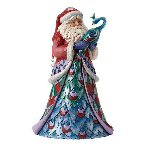 Mikołaj z królewskim ptakiem santa style winter wonderland santa with peacock 4047660 figurka ozdoba świąteczna marki Jim shore