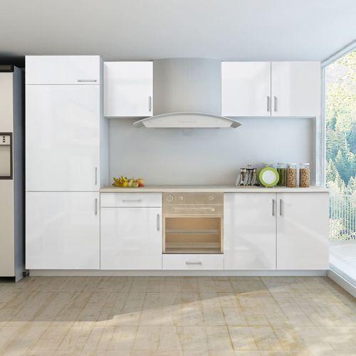 Vidaxl Zestaw mebli kuchennych na wysoki połysk, 7 części, biały