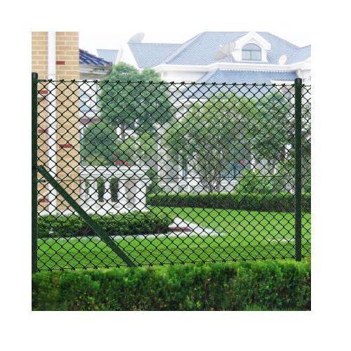 Siatka ogrodzeniowa 0,8x15m zielona ze słupkami i osprzętem ze sklepu VidaXL