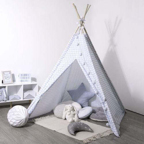 Namiot indiański dla dzieci w kratę, namiot dziecięcy biało-niebieski, namiot dla dzieci do pokoju, namiocik dla dzieci, tipi (3560234500273)