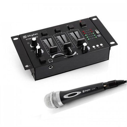 mini dj set, 1 x 3/2-kanałowy mikser, 1 x mikrofon ręczny marki Electronic-star