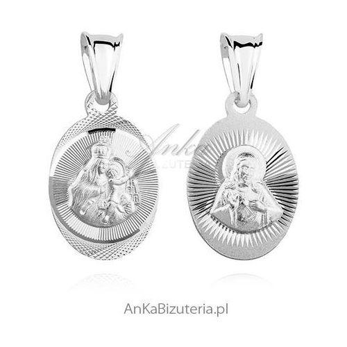 Anka biżuteria Medalik srebrny jezus / matka boska szkaplerzna - rodowana