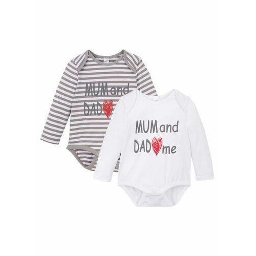 Body niemowlęce z długim rękawem (2 szt.), bawełna organiczna szaro-biały marki Bonprix