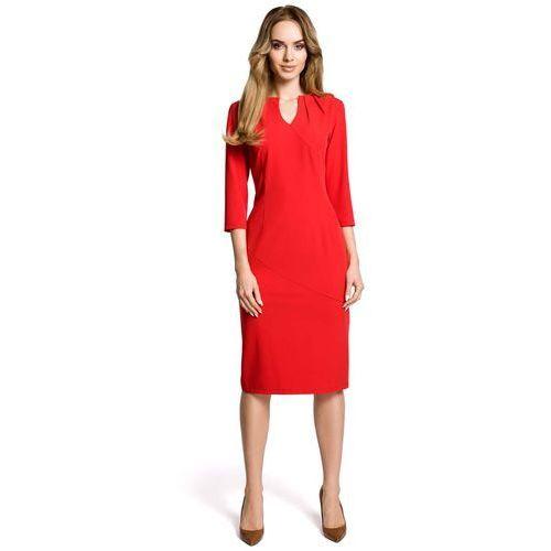 35e369e707 Czerwona Sukienka Wizytowa Dopasowana z Przeszyciami