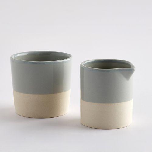 La redoute interieurs Zestaw dzbanka do mleka i cukiernicy z ceramiki z podstawą z piaskowca warota