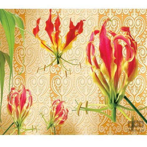 Fototapeta Czerwone lilie na pomarańczowym tle ze złotym wzorem 1386 z kategorii fototapety