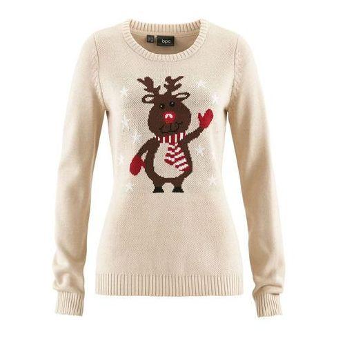 Sweter z okrągłym dekoltem bonprix beżowo-szary