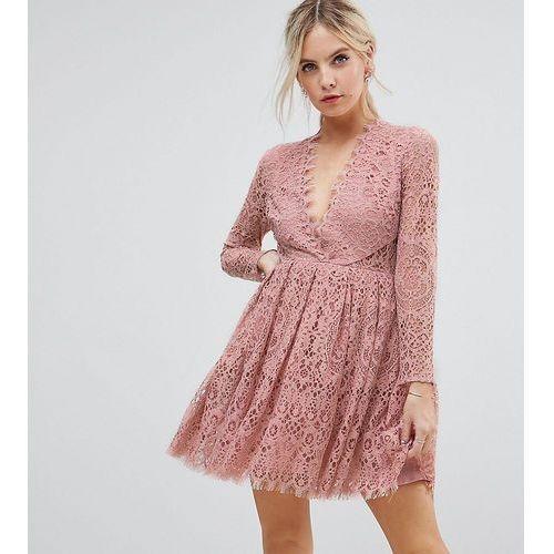 long sleeve lace mini prom dress - pink marki Asos petite