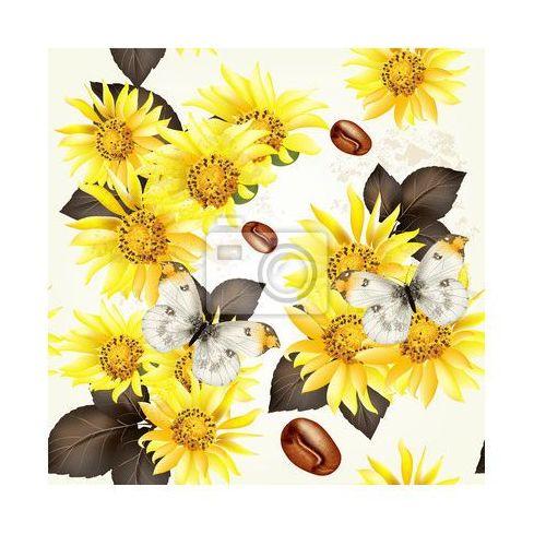 Obraz Wektor bez szwu grunge wzór tapety z żółtymi kwiatami - oferta [1539ed08c142144f]