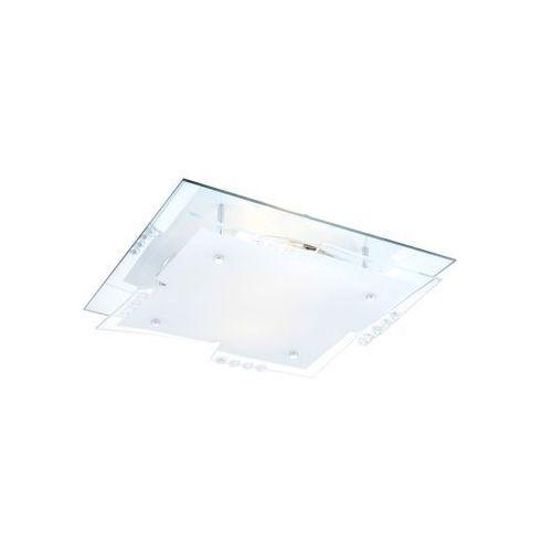 Globo Plafon oprawa lampa sufitowa dubia 2x60w e27 kwadrat biały/przezroczysty 48074-2 (9007371217519)