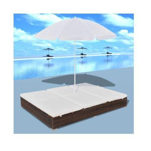 Luksusowe łóżko rattanowe, kolor brąz, leżak dwuosobowy z parasolem - produkt dostępny w VidaXL