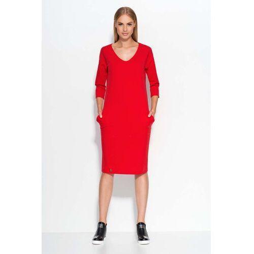 Czerwona Sukienka Dzianinowa Midi z Wsuwanymi Kieszeniami, z