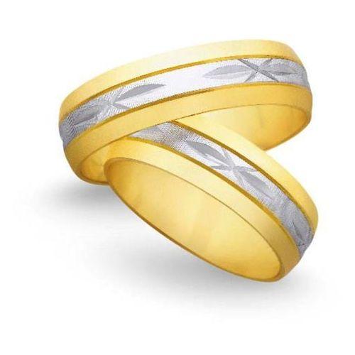 Obrączki ślubne z żółtego i białego złota 6mm - O2K/040, obrączka Świat Złota