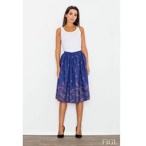 f122f0c06f Niebieska spódnica rozkloszowana midi w kolorowe kwiaty