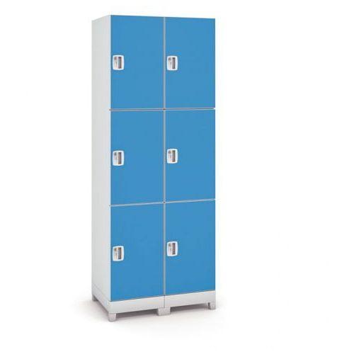 Szafa z tworzywa sztucznego, 6 drzwi, niebieski marki B2b partner
